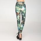 Fashionable And Sexy Women's Twinkling Stars Legging - Green + White (Free Size)