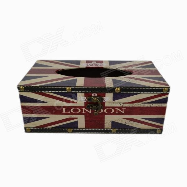 Creative European Style Union Flag Wooden Tissue Box Case - Blue + Red + White the european union online page 5