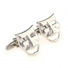 Mask Electroplating White Steel Cufflinks for Men - Silvery (Pairs)