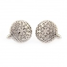 Hollowed-out Ball Electroplating White Steel Cufflinks for Men - Silvery (Pairs)