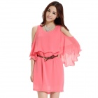 Sexy Off-The-Shoulder Chiffon Dress - roze (maat-L)