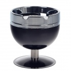 Plastic Cup Style Rotary Top Ashtray - Black + Silver