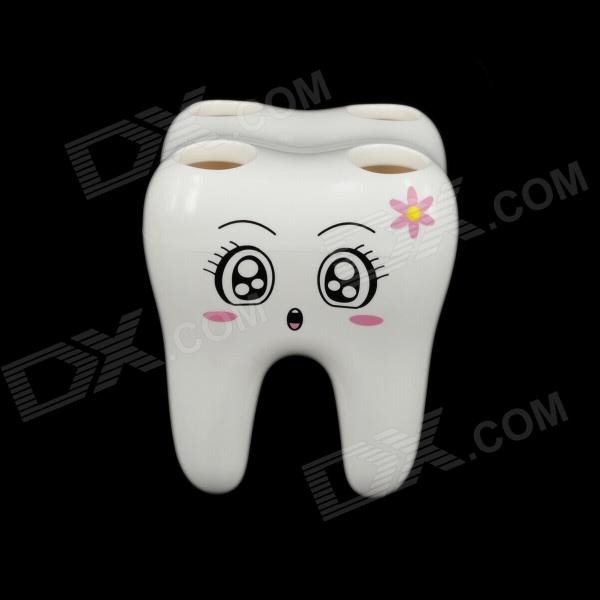 Anya Creative Fashion Tooth Style Toothbrush Holder - White convenient sucker five place abs white toothbrush holder