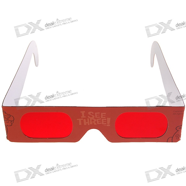 3D Decoder Glasses for Secret Messages with Special Red Lenses