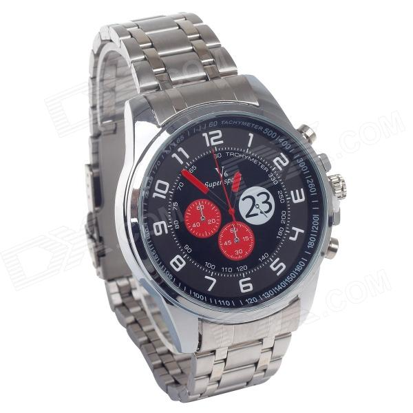 Supper Speed V6 A003 Stainless Steel Wristband Quartz Watch w/ Six Stitch Stopwatch (1 x LR626)