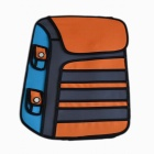 Oxford Fabric Cartoon Doppel Shoulder Bag Backpack - Orange + Blau (Größe L)