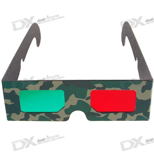 Disposable Anaglyphic Red + Green 3D Glasses (Assorted)