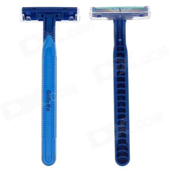 Gillette Double Lubrication And Light Handheld Razors for Travel - Blue (2 PCS)