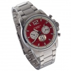 EYKI EOV8568AG Stainless Steel Wristband Quartz Watch w/ Six Stitch Stopwatch - Red (1 x LR626)