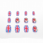 Union Jack Design Acryl Gems Falsch Plastic Nail Art Tips Set - Blau + Rot + Weiß