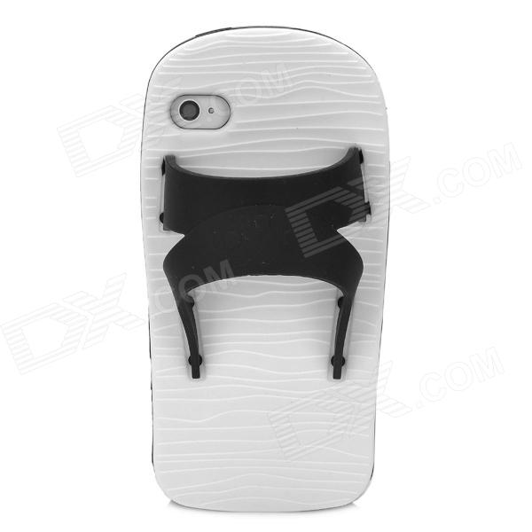 Creative Slipper Style Protective Silicone Back Case for Iphone 4S - Black + White cool skull head style protective soft silicone back case for iphone 4 4s pink
