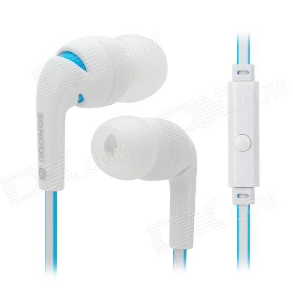 SQ-IP2014 Universal In-Ear Earphone w/ Microphone for Iphone / Cell Phone / MP3 - White + Light Blue universal 2 in 1 clip lens kit for cell phone tablet blue