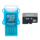 ADATA 16GB Class 10  Micro SDHC Card w/ Card Reader - Black + Grey