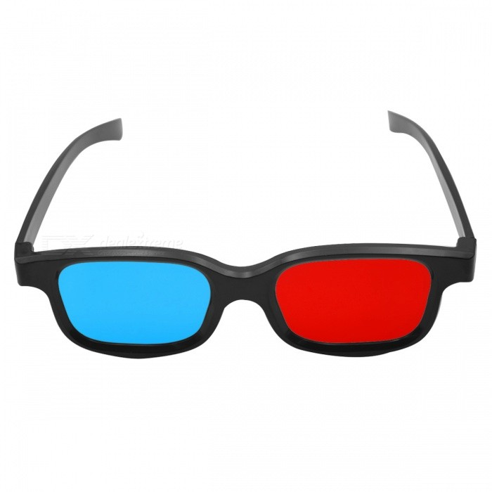 Re-useable Plastic Frame and Lens Anaglyphic Red + Blue 3D Glasses