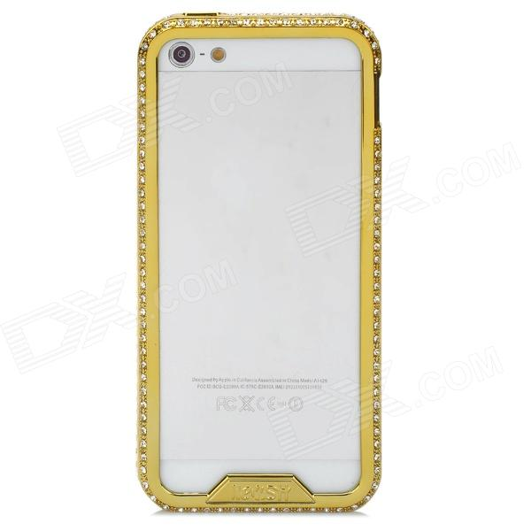 Elegant Rhinestone Alluminum Alloy Bumper Frame for Iphone 5 - Golden - DXMetal Cases <br>Brand N/A Quantity 1 Piece Color Golden Material Aluminum alloy Compatible Models Iphone 5 Type Cases with Jewel Other Features Protects the frame of your Iphone from abrasion Packing List 1 x Protective case<br>