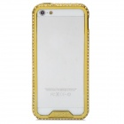 Elegant Rhinestone Alluminum Alloy Bumper Frame for Iphone 5 - Golden