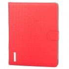 Checked Style Protective PU Leather Case for iPad 2 / 3 / 4 - Red