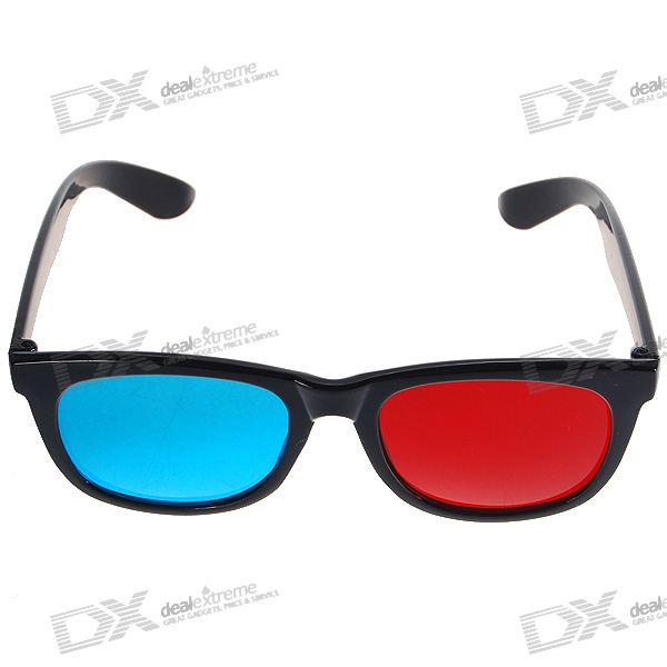 Re-useable Plastic Frame Resin Lens Anaglyphic Red + Blue 3D Glasses