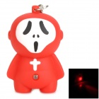 Creative Ghost Style LED Red Flashlight Keychain - Red + White + Black (3 x AG10)