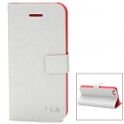L.LA L.case Stylish Mixed Color Protective PU Leather Case w/ Holder for Iphone 5 - White + Red