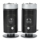 Fashion 2W + 2W USB Powered Speakers - Silver Grey + Black (2 PCS)