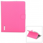 Checked Style Protective PU Leather Case for iPad 2 / 3 / 4 - Deep Pink