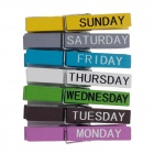 HC-02756 Lovely Week Wooden Clips - Multi-Colored (7 PCS)