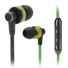 AWEI S90vi Fashionable Universal  3.5mm Jack Wired Bass Earphone w/ Microphone - Green + Black