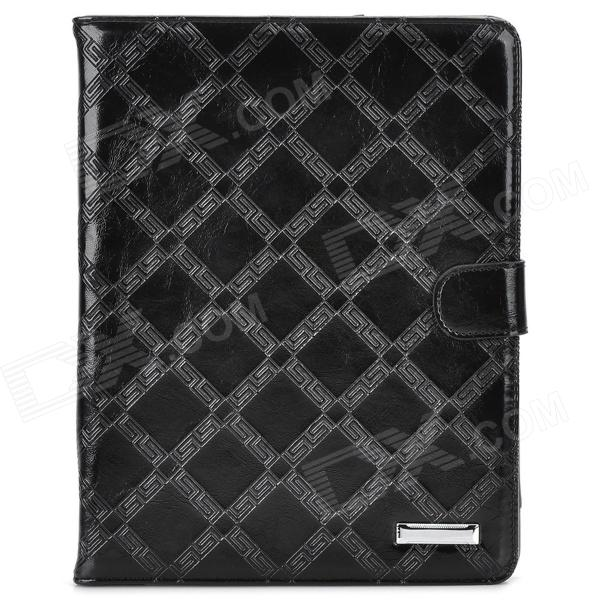 Protective Big Checked PU Leather Flip Open Case for Ipad 2/3/4 - Black