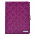 Protective Big Checked PU Leather Flip Open Case for Ipad 2/3/4 - Purple
