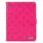 Protective Big Checked PU Leather Flip Open Case for Ipad 2/3/4 - Deep Pink
