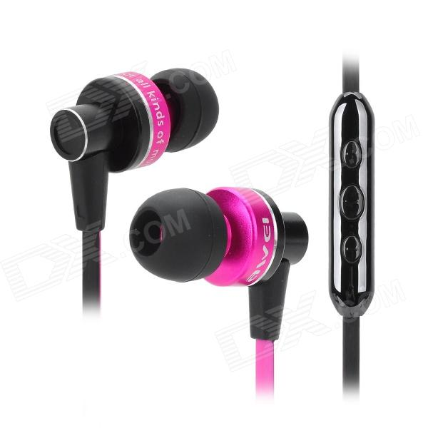 AWEI S90vi Super Bass In-ear Style Earphone w/ Microphone / Volume Control - Deep Pink + Black nameblue st 33 sports bluetooth v4 0 in ear earphone headphone set w microphone volume control