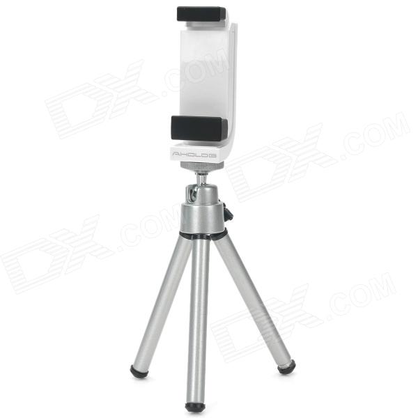 Convenient Photography Retractable TrIpod + Holder Bracket Set for Iphone 4S / 4 - Silver + White