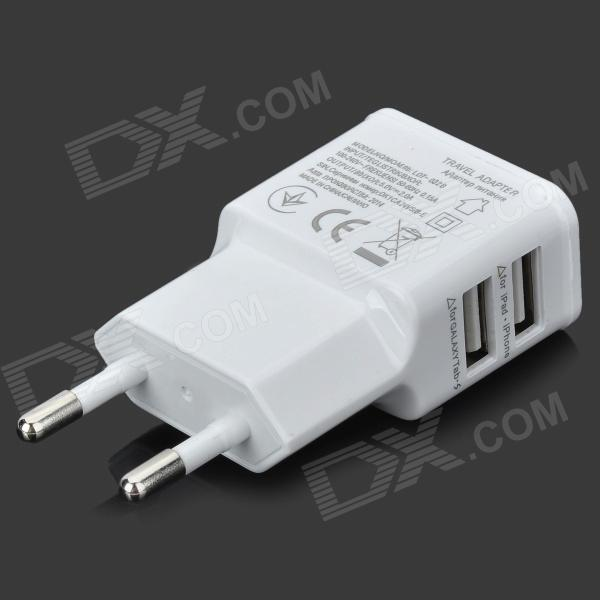 Universal AC Charging Adapter Charger w/ Dual USB Output for Iphone / Ipad / Ipod - White (EU Plug) цена и фото