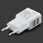 Universal AC Charging Adapter Charger w/ Dual USB Output for Iphone / Ipad / Ipod - White (EU Plug)