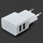 EU Plug Dual USB AC Charging Adapter Charger for IPHONE + More - White