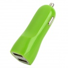 Car Cigarette Powered Charging Adapter Charger w/ Dual USB Output for Ipad / Iphone - Green