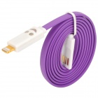 USB to 8-Pin Lightning Data/Charging Cable w/ Smiley Face Light for iPhone 5 / iPad 4 - Purple