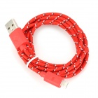USB to 8-Pin Lightning Data/Charging Nylon Woven Cable for iPhone 5 / iPad 4 / Mini - Red (200CM)