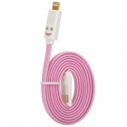 USB to 8-Pin Lightning Data/Charging Cable w/ Smiley Face Light for iPhone 5 / iPad Mini / 4 - Pink