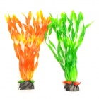 E5ZTY Decorative Lifelike Artificial Water Plants for Aquarium / Fish Tank - Orange + Green (2 PCS)