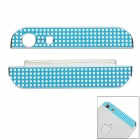 Replacement Rhinestone Top + Bottom Aluminum Sticker for iPhone 5 - Blue (2 PCS)