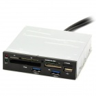 USB 2.0 Internal Card Reader + 2-Port USB 3.0 HUB Combo - Grey + Black