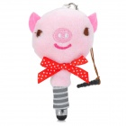 Cute Pig Style Capacitive Touch Screen Stylus Pen + Screen Cleaner - Pink + Red + Brown