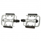 Wellgo 248DU Cycling Stainless Steel Pedals w/ Reflector - Black + Silver (Pair)