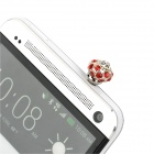 Elegant Rhinestone Anti-Dust Plug for Iphone / Samsung / HTC / Xiaomi - Red + Silver (3.5MM)