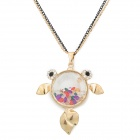 Rhinestone Decoration Small Fish Pattern Necklace - Golden + Colorful