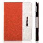 ENKAY ENK-3138 Jean Style PU Leather Case for Ipad 2 / 4 / the New Ipad - Orange + White