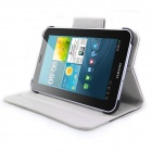 ENKAY Jean Style PU Leather Case w/ Holder for Samsung Galaxy Tab P3100 / P3110 - Black + White