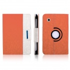 ENKAY Jean Style PU Leather Case w/ Holder for Samsung Galaxy Tab P3100 / P3110 - Orange + White